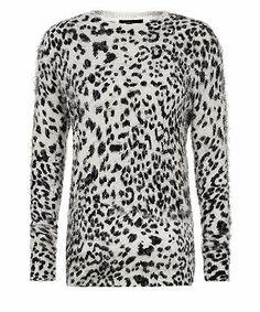 Black Pattern (Black) Black and Grey Animal Print Fuffy Jumper    297986409   New Look