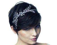 by Jennifer Behr :: Hair Accessories :: Headband :: Silk-Wrapped :: Laurel :: Crystal :: Floral :: Leaves :: Leaf :: bridal :: wedding :: bride