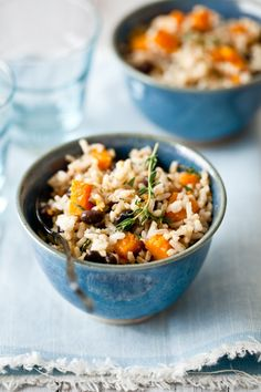 butternut squash and coconut milk rice with black beans.