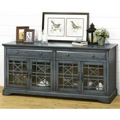 craftsman 70 tv console in antique blue - Painted Tv Consoles