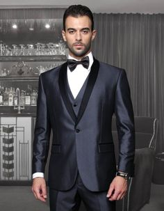 SKU#PN_J30 Tapered Leg Lower rise Pants & Get skinny Tuxedo Formal Suits Two Toned Black Lapled Three Piece One Button Shawl Collar Mens Suit With Trim On The Collar Super 150s Extra Fine Italian Fabric Wynn-Blue $175