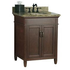 Foremost, Ashburn 25 in. x 22 in. Vanity in Mahogany with Granite Vanity Top in Quadro, ASGAQD2522 at The Home Depot - Tablet