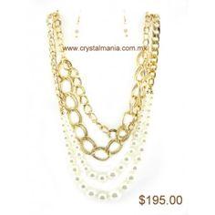 Set de collar y aretes dorados en forma de cadena con perlas estilo 30218