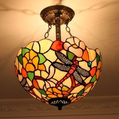 Flush mount Tiffany ceiling lamp with a gorgeous floral design.