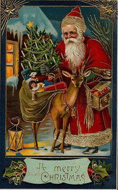Santa Claus Deer Toys Postcard Merry Christmas Gel Coat Embossed Used - Vintage Christmas Images, Victorian Christmas, Vintage Christmas Ornaments, Vintage Holiday, Christmas Pictures, Christmas Postcards, Christmas Scenes, Noel Christmas, Father Christmas