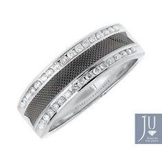 Para Hombre 14k Oro Blanco De Fibra De Carbono Diamond Edge 7 mm anillo de bodas de 0,48 Ct