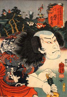 An 1852 ukiyo-e woodblock print by Kuniyoshi Utagawa of kabuki actor Nakamura Utaemon IV | WIKICOMMONS