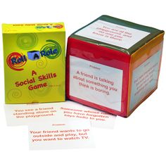 Roll A Role: A Social Skills Game Cubes & Cards Social Skills Autism, Social Skills Games, Teaching Kids, Kids Learning, Card Games, Game Cards, Mental Health Problems, Speech And Language, Asd