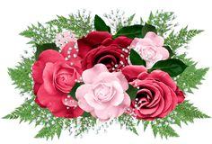 Pink and Red Rose Bouquet Clipart
