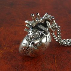 Anatomical Heart Necklace Sterling Silver by LostApostle on Etsy, $195.00