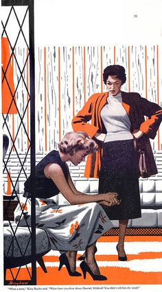 """""""Saturday Evening Post"""". Illustrated by James R. Bingham. February 1958."""