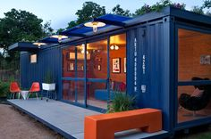 shipping container-guest-house2--Love the use of color, and the modern elements...