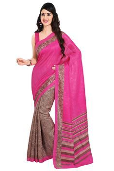Hot pink,Fawn Color Half-Half Printed Silk Saree