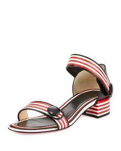 X3L5V Christian Louboutin Striped Ankle-Wrap City Sandal, Black