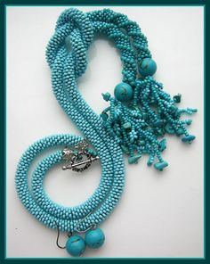 The Wave Rope Neclace and Earrings with turquoise howlite - The rope is 60cm long, the detail is16 cm long, the necklace is 39 cm long
