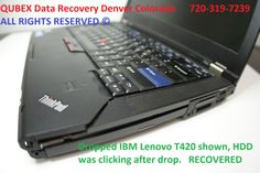 IBM Thinkpad (Lenovo) Laptop data recovery in Denver by QUBEX data recovery. Dropped IBM laptop shown. Drive would not mount. DATA recovered.