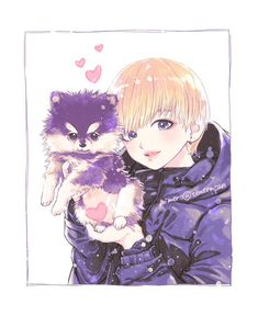 Oh my goodness this is so cute!! Kin taehyung and his puppy!!