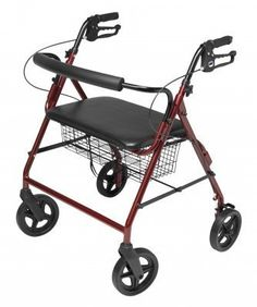 Lumex RJ4405R Walkabout FourWheel Imperial Rollator with Contoured Backbar Burgundy -- View the item in details by clicking the image