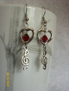 Treble Clef & Hearts Crystal Earrings  I by DysfunctionalAries, $16.00