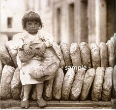Fench Girl with Loaves of Bread Outside Bakery in 1919 - Vintage Photo Print, Ready to Frame Bakery Shop Design, Vintage Photos, Art Drawings, The Outsiders, Bread, Frame, Etsy, Picture Frame, Breads