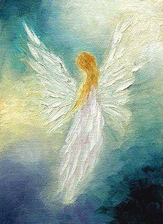 Angel Art Print encadré et signé, Spiritual Healing Art de la peinture à l'huile originales « Ange » par Marina Petro