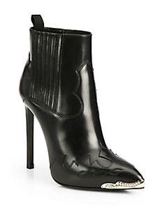 Saint Laurent - Paris Western Leather Ankle Boots