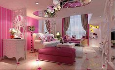 Hello Kitty room ( Can I Please Get My Room Decorated Like This Hello Kitty Bedroom, Hello Kitty House, Pink Hello Kitty, Kitty Kitty, My Room, Girl Room, Teen Girl Bedrooms, Bedroom Bed, Bedroom Ideas