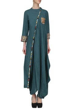 Priyanka Singh presents Blue embroidered drape tunic available only at Pernia's Pop Up Shop. Indian Attire, Indian Outfits, Indian Clothes, Indian Wear, Kurta Designs, Blouse Designs, Ethnic Fashion, Indian Fashion, Women's Fashion
