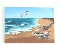 New painting beach vacations 64 ideas Beach Artwork, Beach Wall Art, 3d Wall Art, Beach House Decor, Pebble Art, Mosaic Art, Fishing Boats, Printable Art, Sea Shells