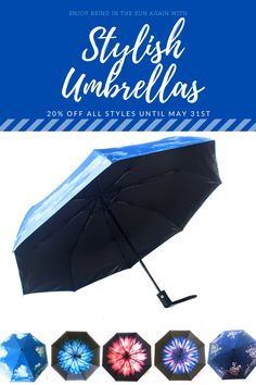Enjoy the sun again and look stylish while protecting your skin with the UPF50 protection from our gorgeous UV Umbrellas for women and cute sombrillas and paraguas for kids! 20% Off all styles in May on Amazon.com! #sunumbrella #uvprotection #uvblocker #traveltips #upf #upf50 #upfprotection #spfprotection