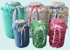 Easy Lace Jar Covers Set 1 Crochet Pattern PDF by Maggiescrochet