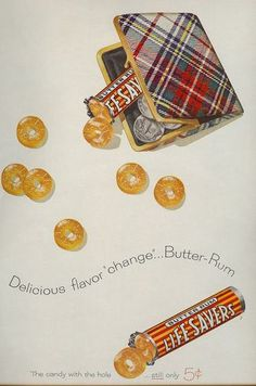 Vintage ad for Life Savers with tartan coin purse 1958