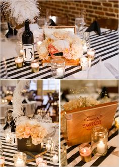 vintage cigar boxes as table centerpieces #artdecowedding #DIYwedding #weddingchicks http://www.weddingchicks.com/2014/01/13/diy-dapper-deco-wedding/