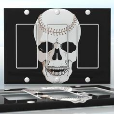 DIY Do It Yourself Home Decor - Easy to apply wall plate wraps | Rugby Skull Skull with rugby ball stitches wallplate skin sticker for 3 Gang Decora LightSwitch | On SALE now only $5.95