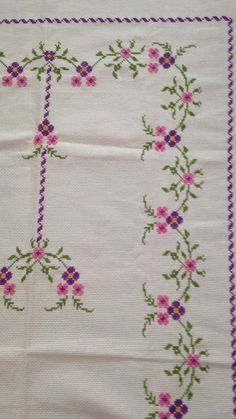 This Pin was discovered by HUZ Cross Stitch Borders, Cross Stitch Flowers, Cross Stitch Designs, Cross Stitching, Cross Stitch Patterns, Folk Embroidery, Cross Stitch Embroidery, Crochet Bedspread, Crochet Tank