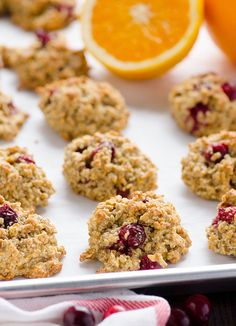 Gluten Free Cranberry Orange Cookies -- Festive cookies made with wholesome ingredients, these are to die for! No mixer or funky gluten free flours. #cleaneating #holidays