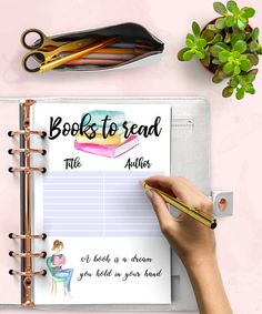 BOOKS TO READ Planner Printable Inserts  Watercolor  A5 Pdf