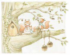 Ilustracion infantil familia de ardillas