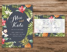 PRINTABLE Digital Wedding Invitation - Tropical Leaves Blue Destination Invitation Set by AlexaNelsonPrints on Etsy https://www.etsy.com/listing/221846208/printable-digital-wedding-invitation
