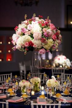 maybe something like this for tall centerpieces? (different pinks though)