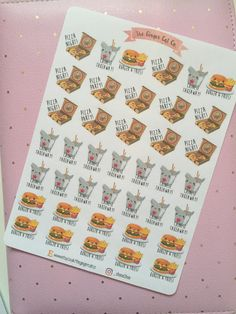 Kawaii takeaway stickers for any size planner, scrapbook, etc. Listing includes one sheet of 41 stickers. • Sheet size - 4.5 x 6.8 inch  Stickers are kiss cut and ready to use.  Printed on matte sticker paper.   As these are a handmade item there may be slight imperfections with printing or cutting.