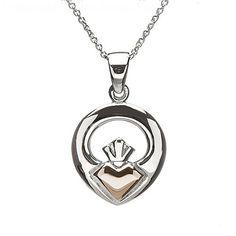 Claddagh Rose Gold Pendant   Irish Jewelry
