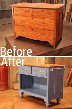 The Kitchen Queenz Here's a great #DIY idea. Repurpose & modify an old set of drawers into a #KitchenIsland, to give yourself a great work station with storage. Add castors to make it mobile, and attach towel rails & S hooks on the sides for tea towel, utensils or pots & pans.