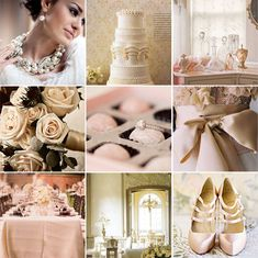 Pale pink, champagne, gold and ivory wedding colour palette