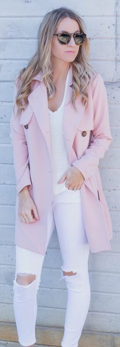stylish spring outfits /  Pink Coat / White Top / White Ripped Skinny Jeans