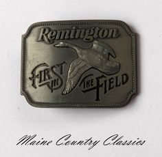 Vintage 1980 REMINGTON ARMS FIRST IN THE FIELD BELT BUCKLE Canada Goose Sid Bell | eBay