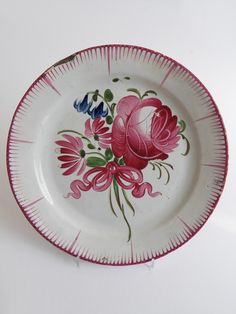 Old French Faience Flower Plate