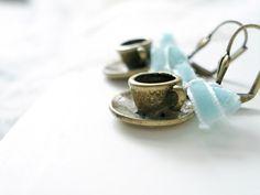 Tea cup earrings  Velvet ribbon earrings  Mint by PRINTZESA, €13.00