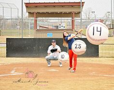 Baseball engagement photo save the date