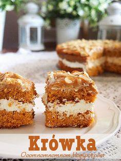 Ooomnomnomnom !: Krówka - pyszne karmelowe ciasto z kremem śmietano...